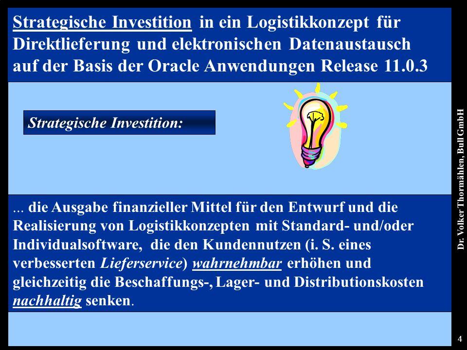 Dr. Volker Thormählen, Bull GmbH 4 Strategische Investition:...