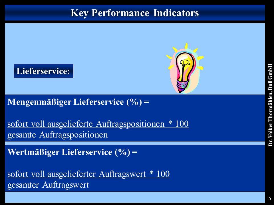Dr. Volker Thormählen, Bull GmbH 5 Lieferservice: Mengenmäßiger Lieferservice (%) = sofort voll ausgelieferte Auftragspositionen * 100 gesamte Auftrag