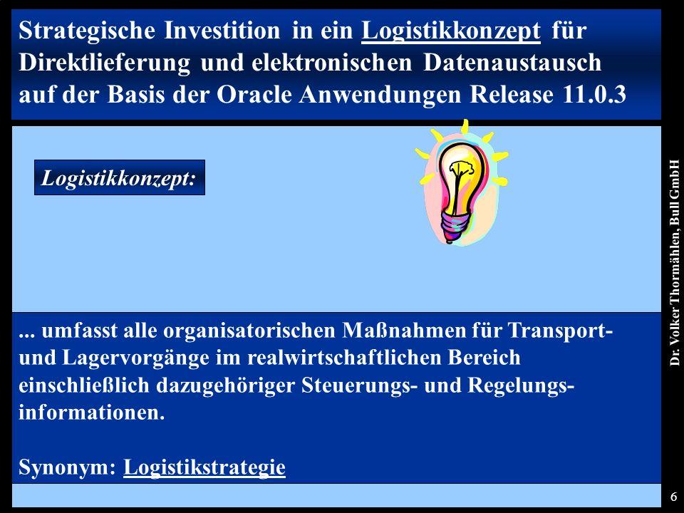 Dr. Volker Thormählen, Bull GmbH 6 Logistikkonzept:...