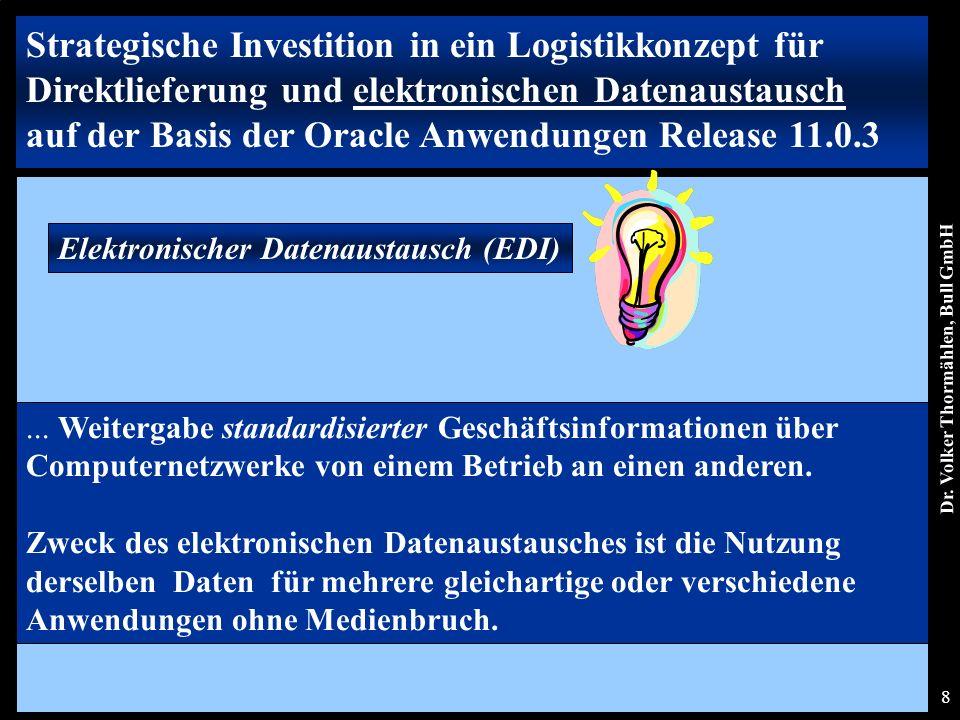 Dr. Volker Thormählen, Bull GmbH 8 Elektronischer Datenaustausch (EDI) Strategische Investition in ein Logistikkonzept für Direktlieferung und elektro