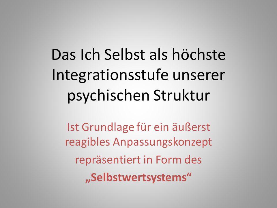 """Das Ich Selbst als höchste Integrationsstufe unserer psychischen Struktur Ist Grundlage für ein äußerst reagibles Anpassungskonzept repräsentiert in Form des """"Selbstwertsystems"""