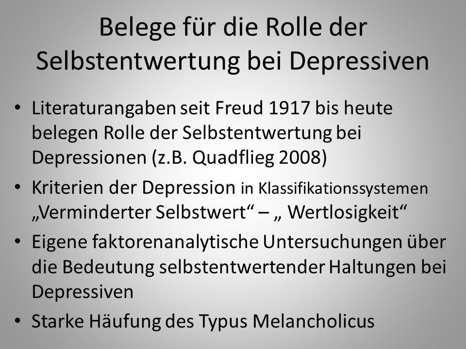 Belege für die Rolle der Selbstentwertung bei Depressiven Literaturangaben seit Freud 1917 bis heute belegen Rolle der Selbstentwertung bei Depressionen (z.B.
