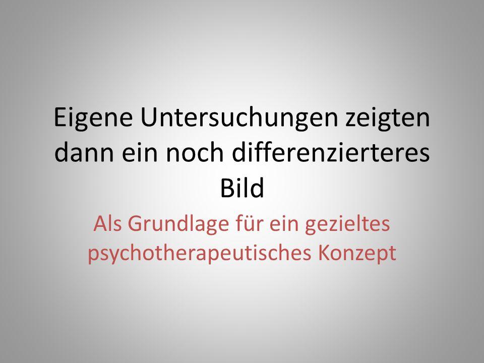 Eigene Untersuchungen zeigten dann ein noch differenzierteres Bild Als Grundlage für ein gezieltes psychotherapeutisches Konzept