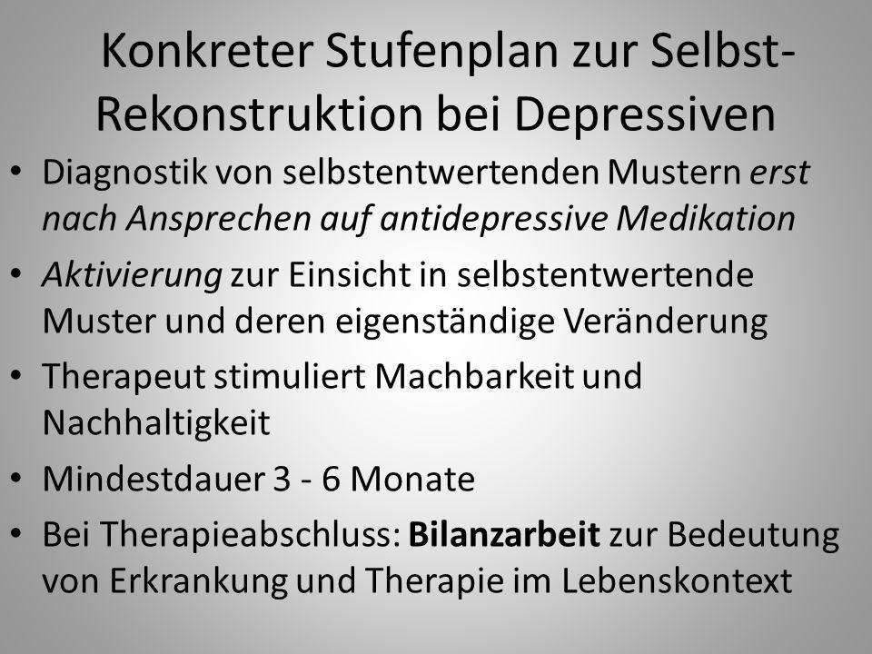 Konkreter Stufenplan zur Selbst- Rekonstruktion bei Depressiven Diagnostik von selbstentwertenden Mustern erst nach Ansprechen auf antidepressive Medi
