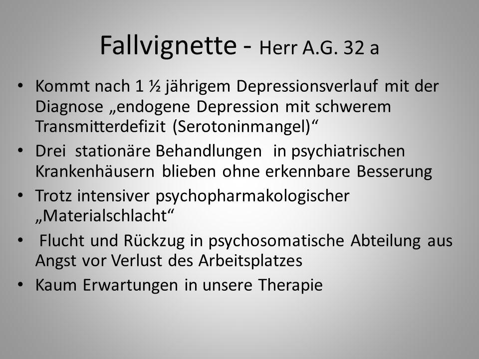 """Fallvignette - Herr A.G. 32 a Kommt nach 1 ½ jährigem Depressionsverlauf mit der Diagnose """"endogene Depression mit schwerem Transmitterdefizit (Seroto"""