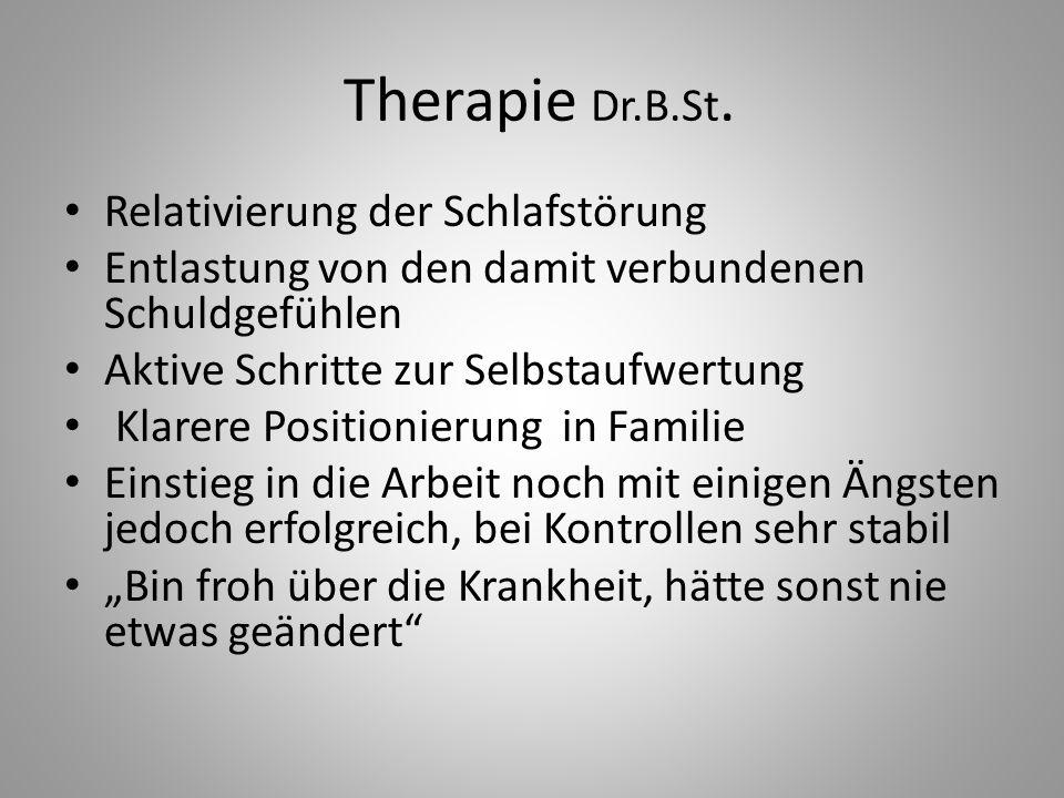 Therapie Dr.B.St. Relativierung der Schlafstörung Entlastung von den damit verbundenen Schuldgefühlen Aktive Schritte zur Selbstaufwertung Klarere Pos