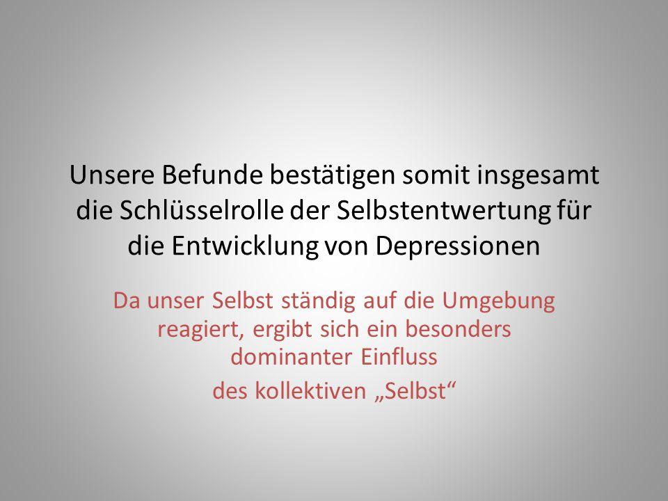 Unsere Befunde bestätigen somit insgesamt die Schlüsselrolle der Selbstentwertung für die Entwicklung von Depressionen Da unser Selbst ständig auf die
