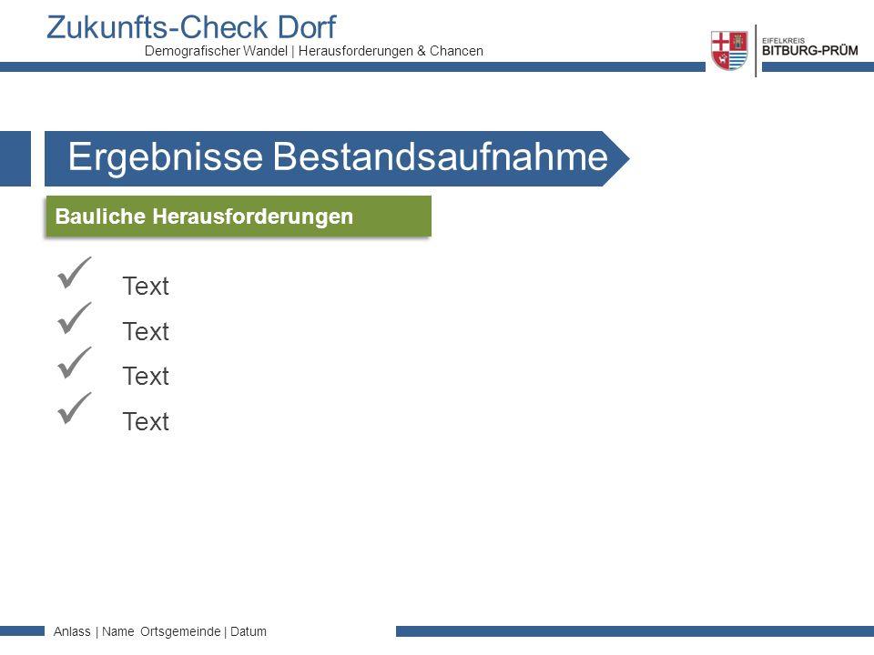 Zukunfts-Check Dorf Anlass | Name Ortsgemeinde | Datum Demografischer Wandel | Herausforderungen & Chancen Ergebnisse Bestandsaufnahme Text Bauliche Herausforderungen