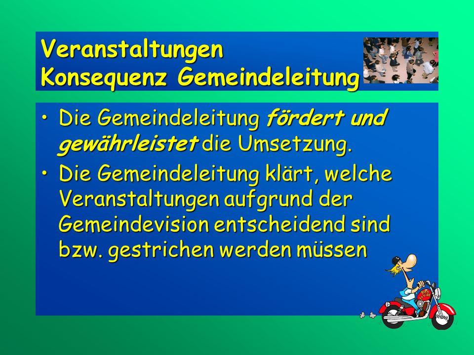 Veranstaltungen Konsequenz Gemeindeleitung Die Gemeindeleitung fördert und gewährleistet die Umsetzung.Die Gemeindeleitung fördert und gewährleistet die Umsetzung.