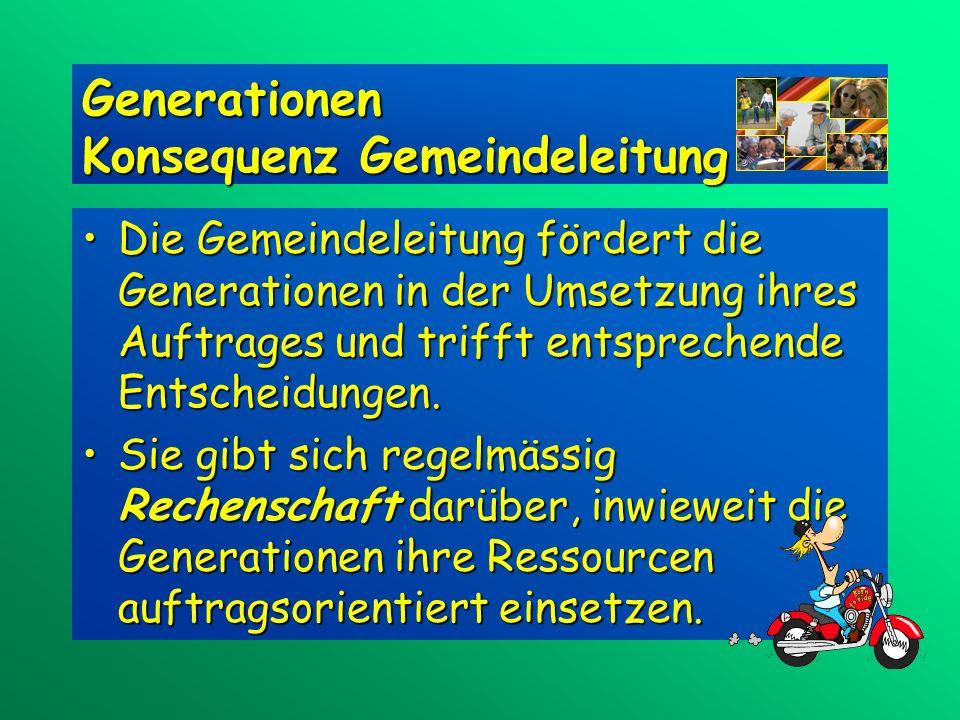 Generationen Konsequenz Gemeindeleitung Die Gemeindeleitung fördert die Generationen in der Umsetzung ihres Auftrages und trifft entsprechende Entscheidungen.Die Gemeindeleitung fördert die Generationen in der Umsetzung ihres Auftrages und trifft entsprechende Entscheidungen.