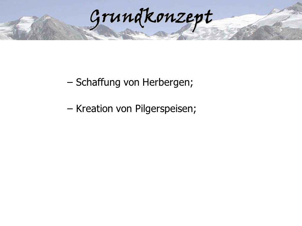 Grundkonzept – Schaffung von Herbergen; – Kreation von Pilgerspeisen;