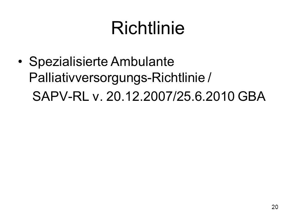 20 Richtlinie Spezialisierte Ambulante Palliativversorgungs-Richtlinie / SAPV-RL v.