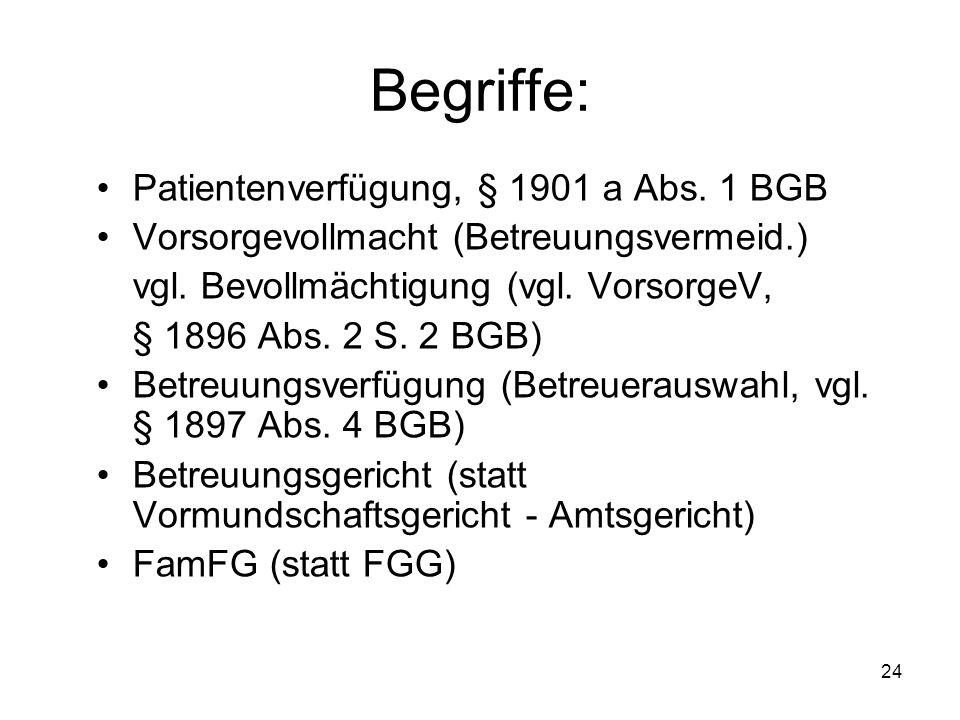 24 Begriffe: Patientenverfügung, § 1901 a Abs. 1 BGB Vorsorgevollmacht (Betreuungsvermeid.) vgl.