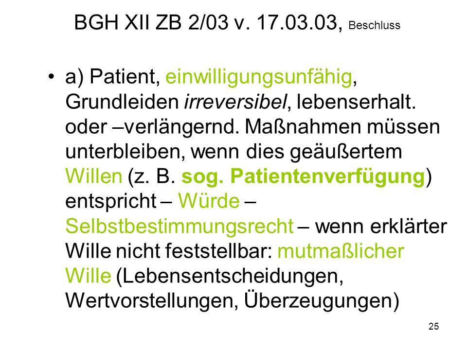 25 BGH XII ZB 2/03 v.