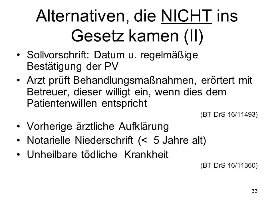 33 Alternativen, die NICHT ins Gesetz kamen (II) Sollvorschrift: Datum u.