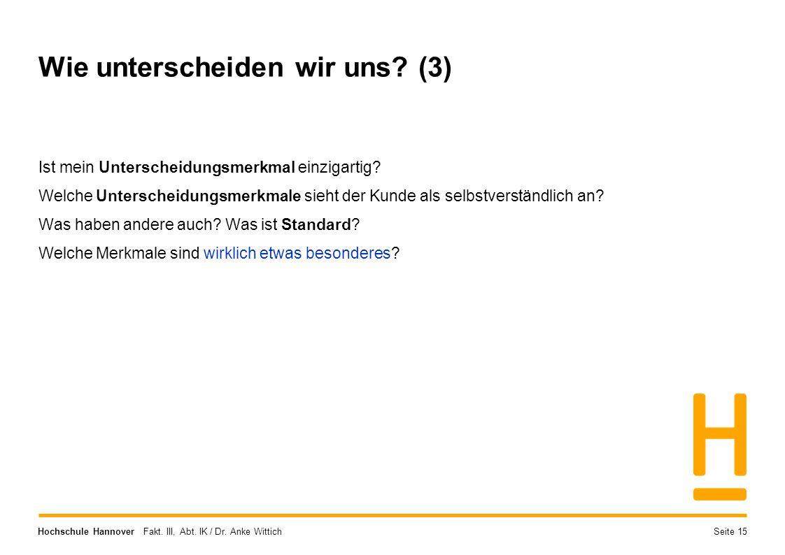 Hochschule Hannover Fakt. III, Abt. IK / Dr. Anke Wittich Wie unterscheiden wir uns? (3) Ist mein Unterscheidungsmerkmal einzigartig? Welche Untersche