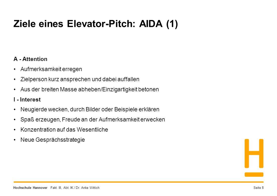 Hochschule Hannover Fakt. III, Abt. IK / Dr. Anke Wittich Ziele eines Elevator-Pitch: AIDA (1) A - Attention Aufmerksamkeit erregen Zielperson kurz an