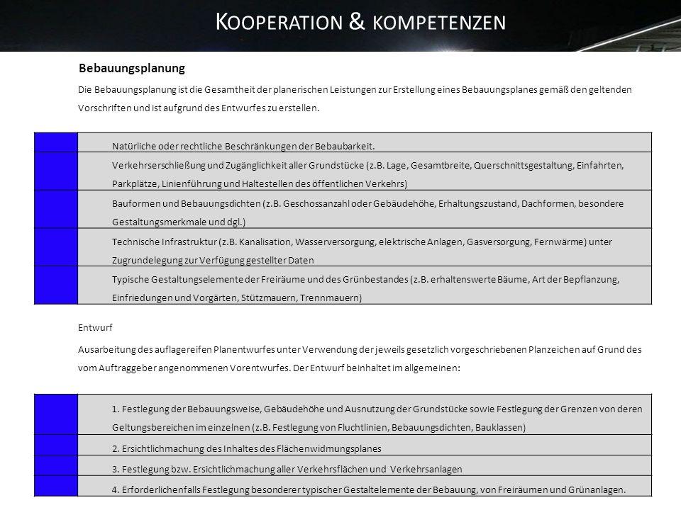 K OOPERATION & KOMPETENZEN 13 Bebauungsplanung Die Bebauungsplanung ist die Gesamtheit der planerischen Leistungen zur Erstellung eines Bebauungsplane