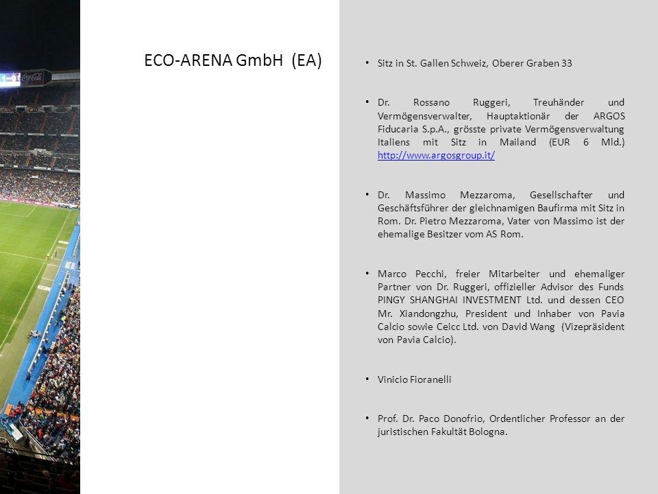 ECO-ARENA GmbH (EA) Sitz in St. Gallen Schweiz, Oberer Graben 33 Dr. Rossano Ruggeri, Treuhänder und Vermögensverwalter, Hauptaktionär der ARGOS Fiduc