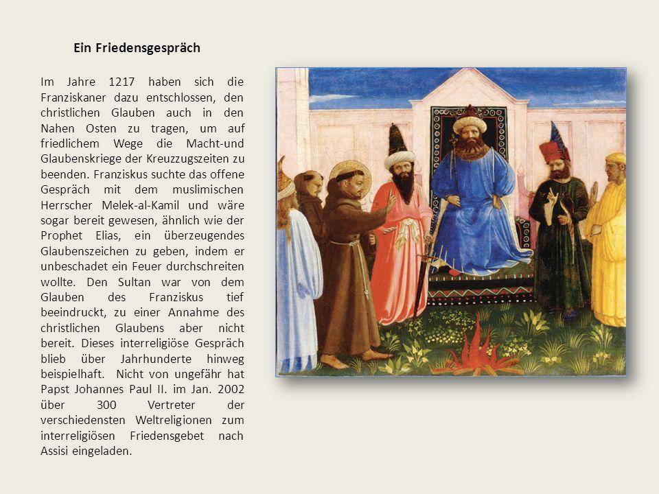 Ein Friedensgespräch Im Jahre 1217 haben sich die Franziskaner dazu entschlossen, den christlichen Glauben auch in den Nahen Osten zu tragen, um auf friedlichem Wege die Macht-und Glaubenskriege der Kreuzzugszeiten zu beenden.