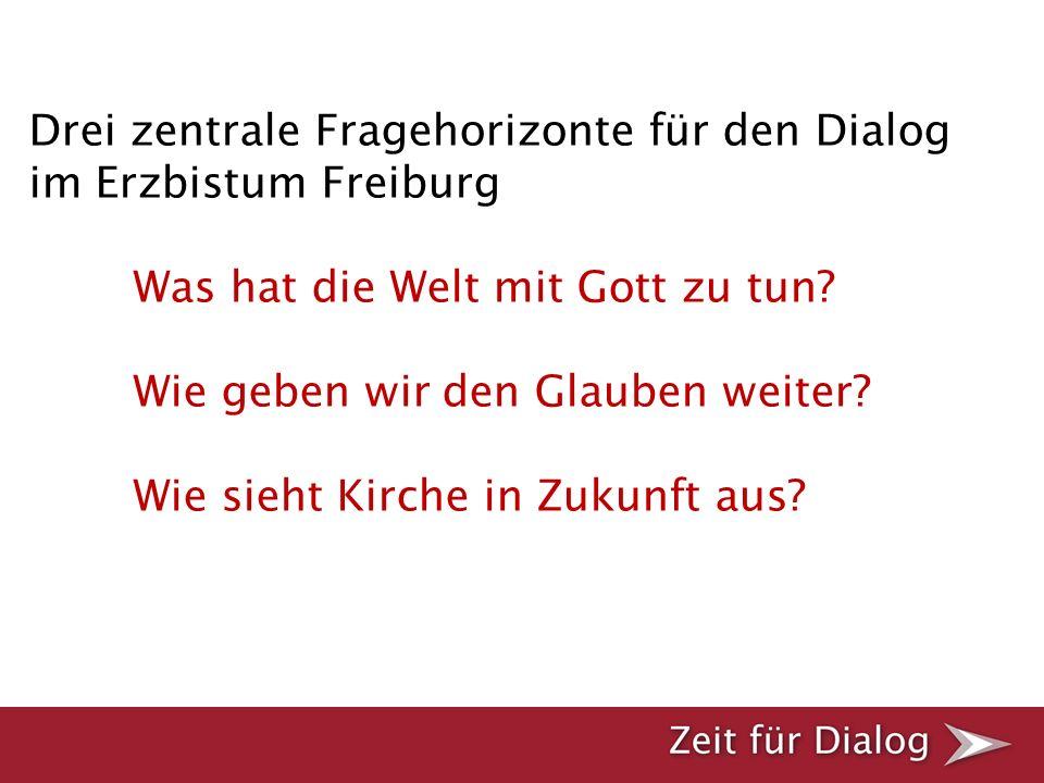Drei zentrale Fragehorizonte für den Dialog im Erzbistum Freiburg Was hat die Welt mit Gott zu tun? Wie geben wir den Glauben weiter? Wie sieht Kirche