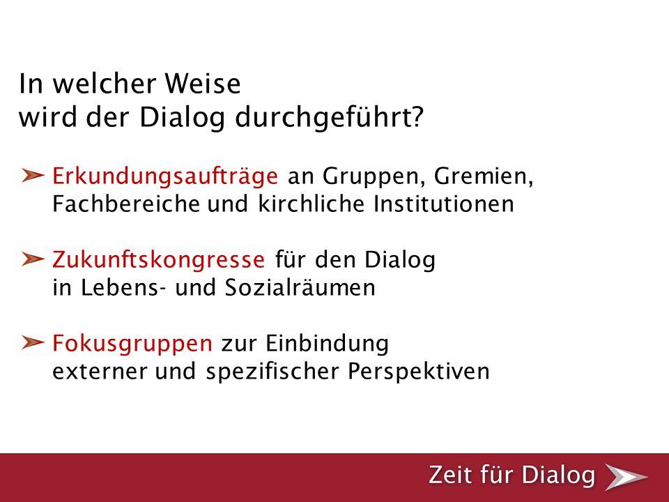 In welcher Weise wird der Dialog durchgeführt? Erkundungsaufträge an Gruppen, Gremien, Fachbereiche und kirchliche Institutionen Zukunftskongresse für