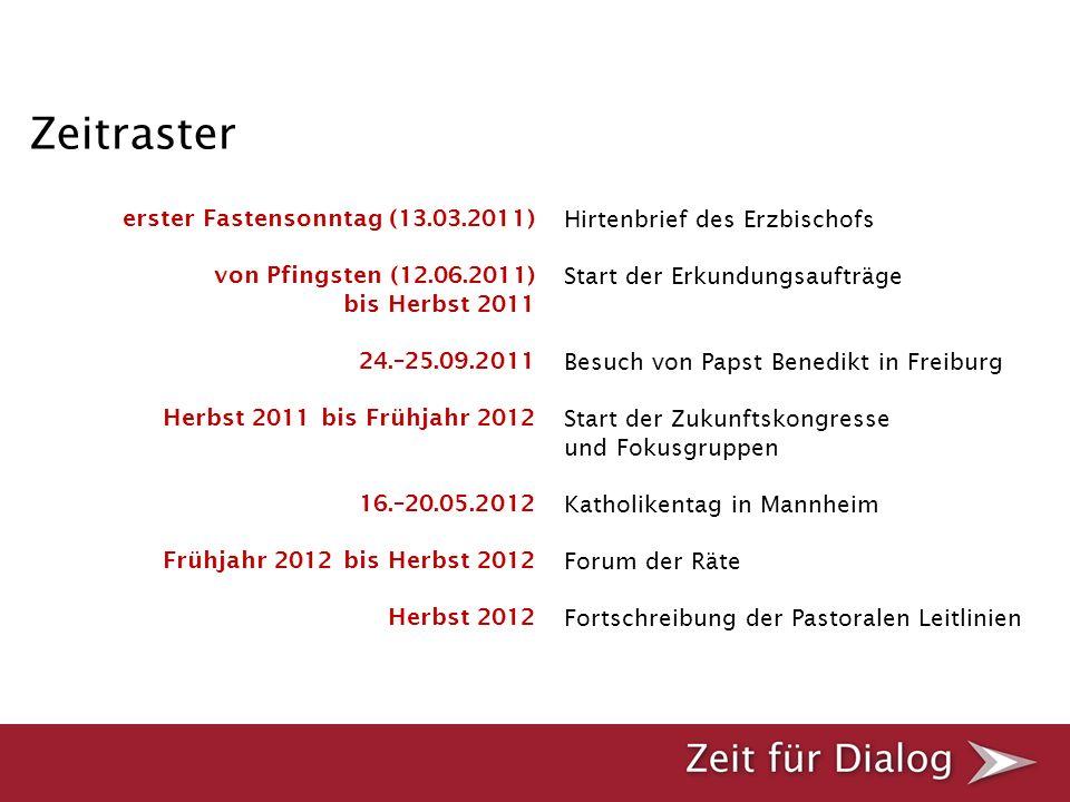 erster Fastensonntag (13.03.2011) von Pfingsten (12.06.2011) bis Herbst 2011 24.–25.09.2011 Herbst 2011 bis Frühjahr 2012 16.–20.05.2012 Frühjahr 2012