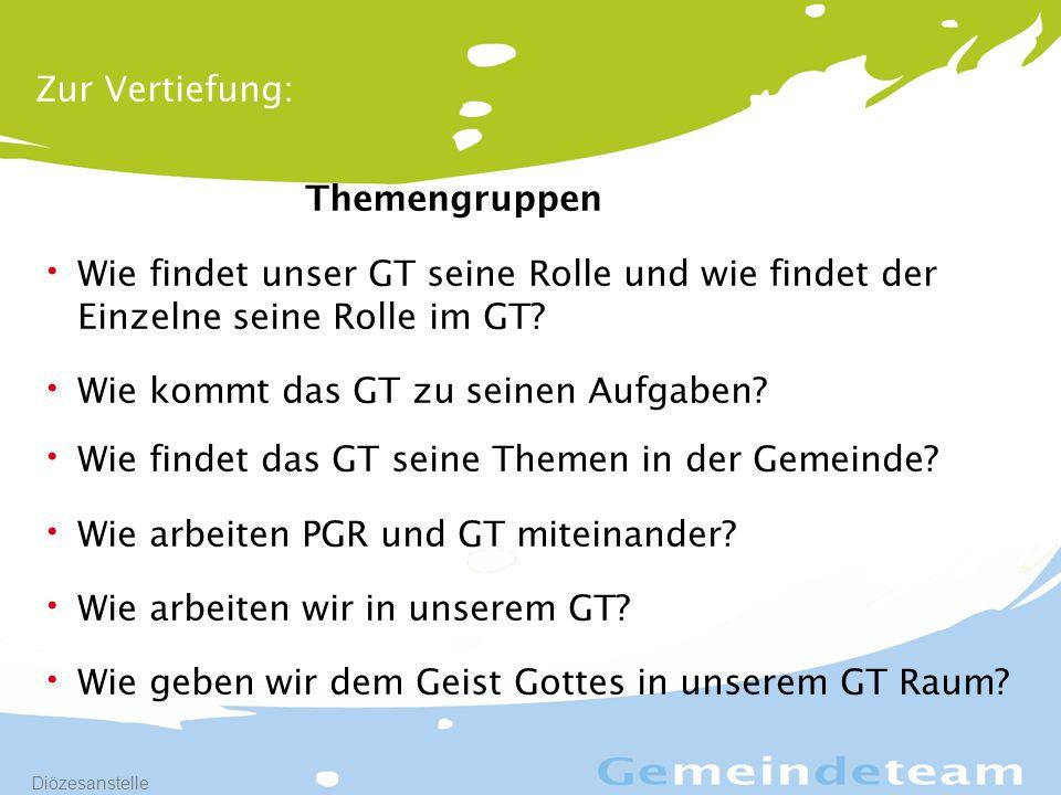 17 Diözesanstelle Zur Vertiefung: Themengruppen Wie findet unser GT seine Rolle und wie findet der Einzelne seine Rolle im GT.