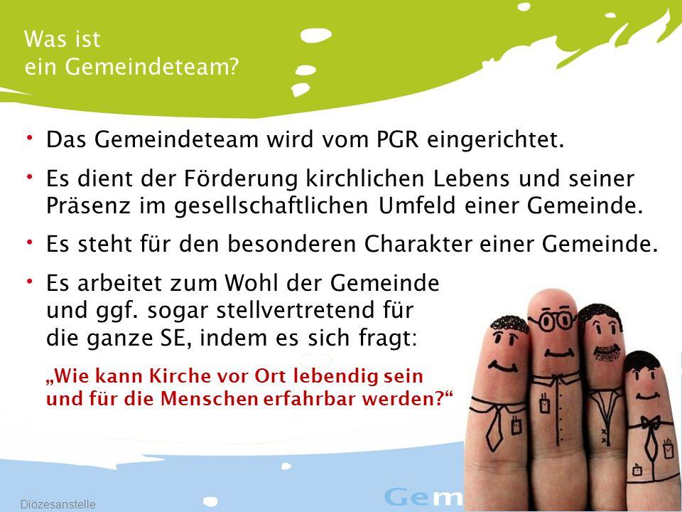 8 Diözesanstelle Das Gemeindeteam wird vom PGR eingerichtet.