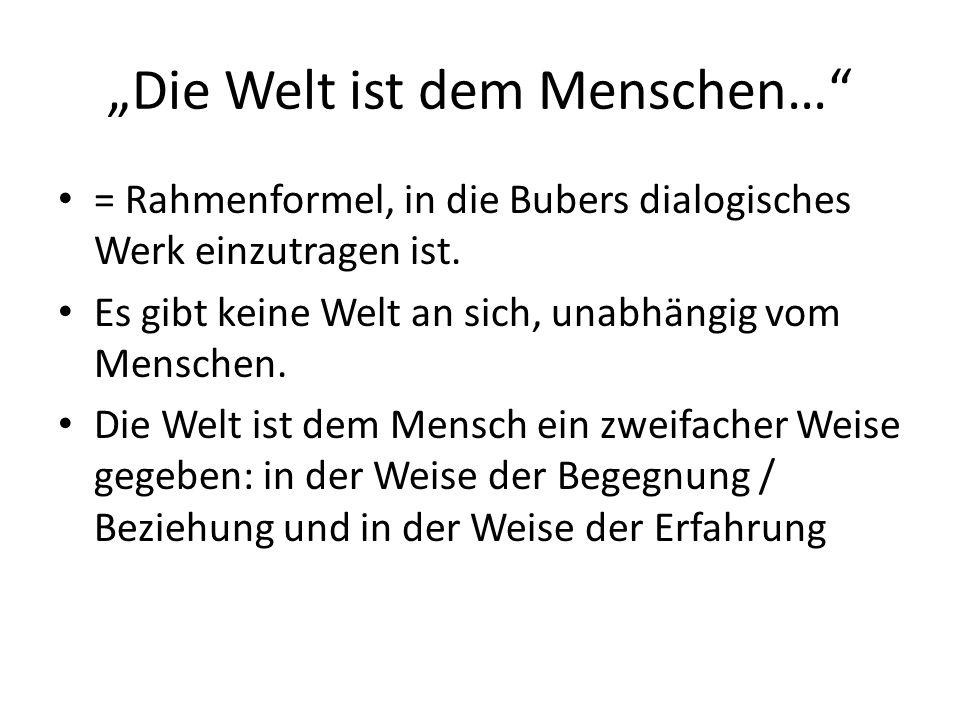 """""""Die Welt ist dem Menschen… = Rahmenformel, in die Bubers dialogisches Werk einzutragen ist."""