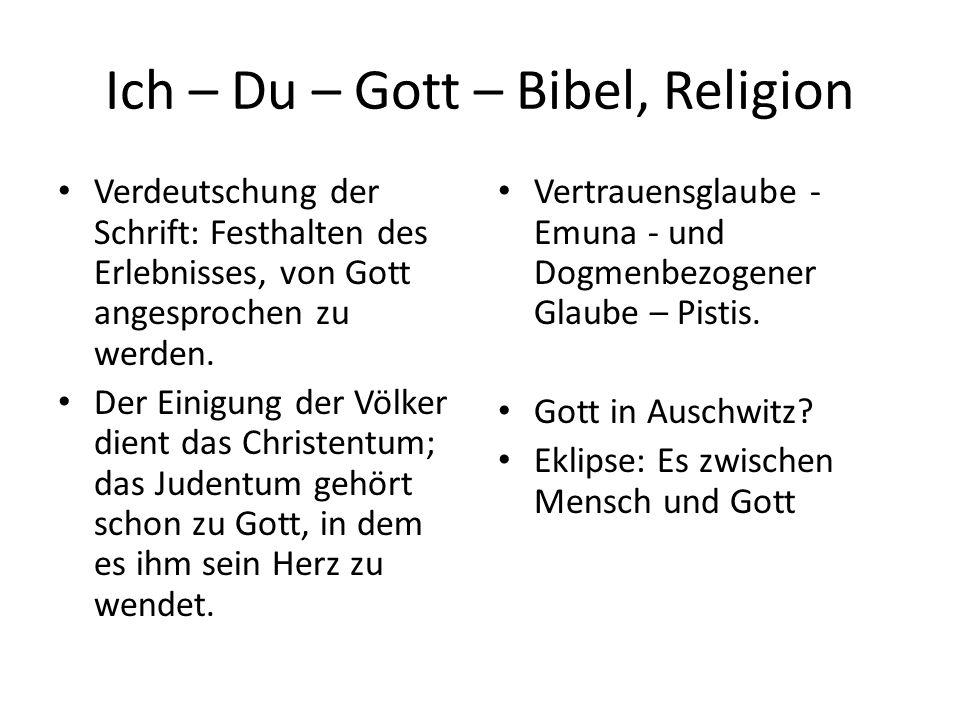 Ich – Du – Gott – Bibel, Religion Verdeutschung der Schrift: Festhalten des Erlebnisses, von Gott angesprochen zu werden.