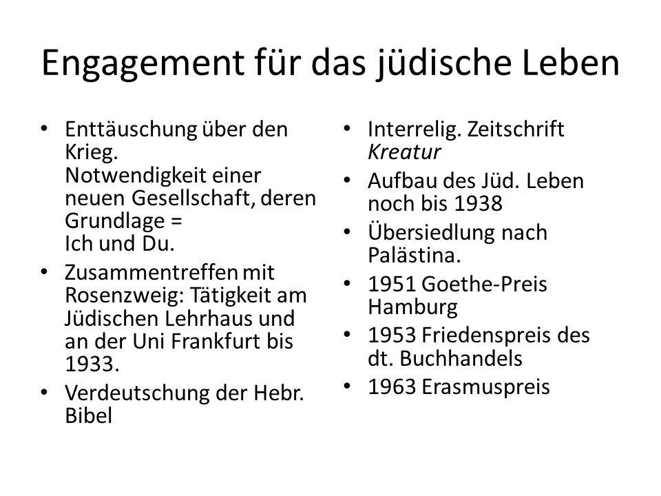 Engagement für das jüdische Leben Enttäuschung über den Krieg.