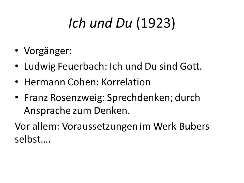 Ich und Du (1923) Vorgänger: Ludwig Feuerbach: Ich und Du sind Gott.