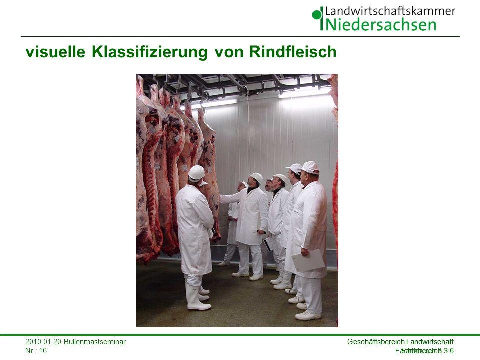 Geschäftsbereich Landwirtschaft Fachbereich 3.1 2010.01.20 Bullenmastseminar Nr.: 16 Geschäftsbereich Landwirtschaft Fachbereich 3.1.6 visuelle Klassi