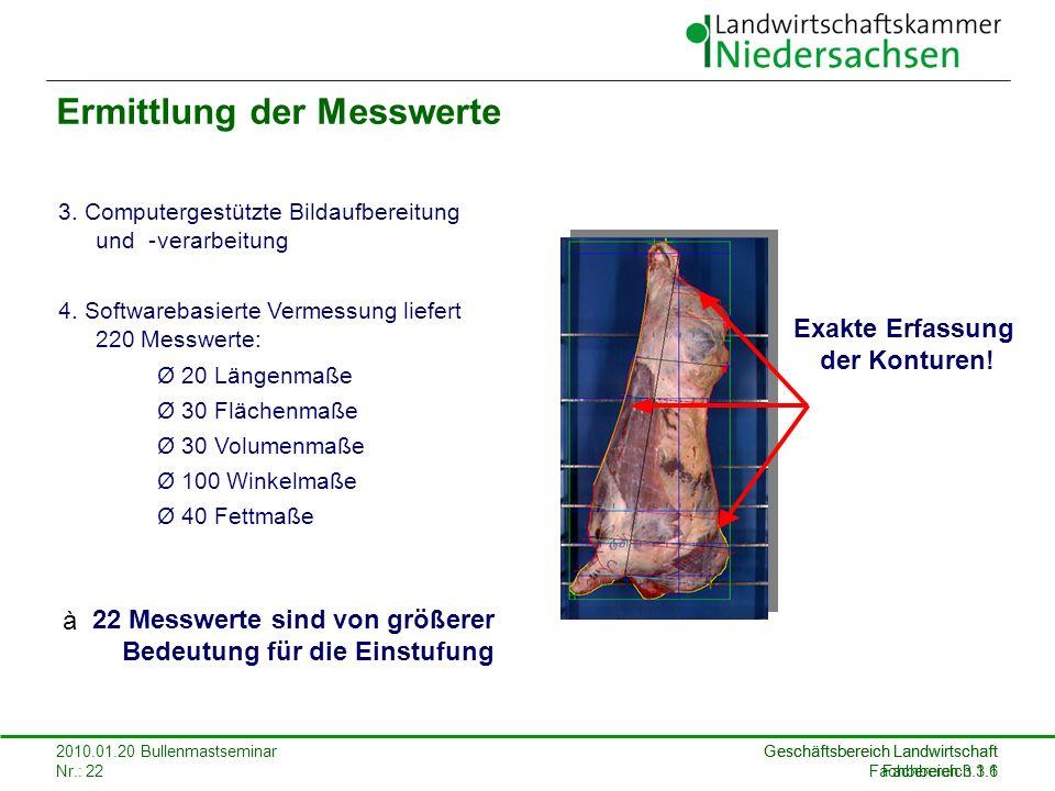 Geschäftsbereich Landwirtschaft Fachbereich 3.1 2010.01.20 Bullenmastseminar Nr.: 22 Geschäftsbereich Landwirtschaft Fachbereich 3.1.6 Ermittlung der