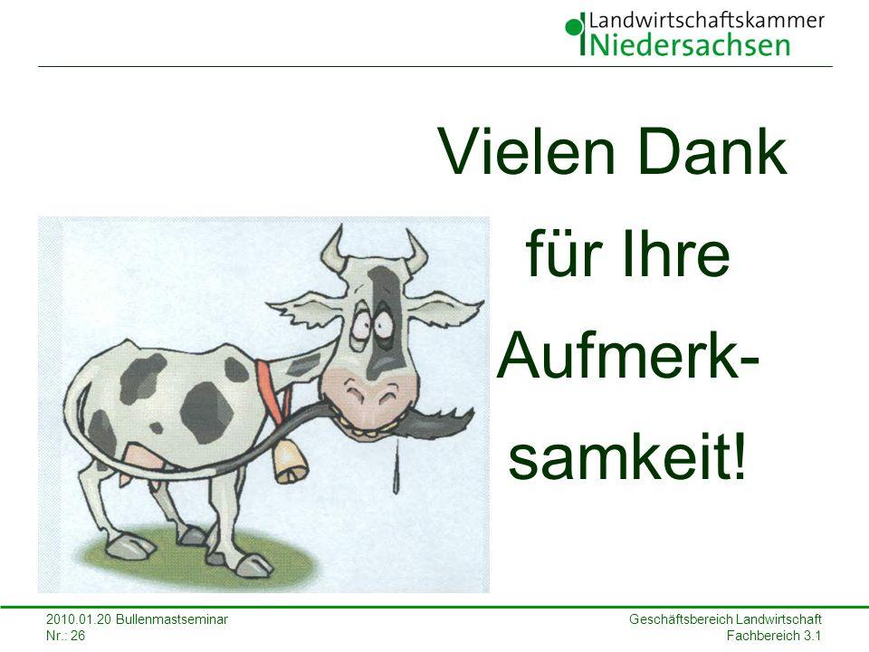 Geschäftsbereich Landwirtschaft Fachbereich 3.1 2010.01.20 Bullenmastseminar Nr.: 26 Vielen Dank für Ihre Aufmerk- samkeit!