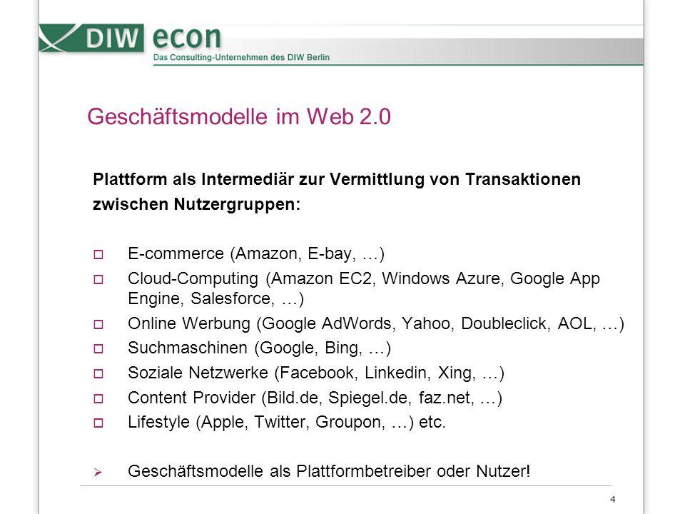4 Geschäftsmodelle im Web 2.0 Plattform als Intermediär zur Vermittlung von Transaktionen zwischen Nutzergruppen:  E-commerce (Amazon, E-bay, …)  Cloud-Computing (Amazon EC2, Windows Azure, Google App Engine, Salesforce, …)  Online Werbung (Google AdWords, Yahoo, Doubleclick, AOL, …)  Suchmaschinen (Google, Bing, …)  Soziale Netzwerke (Facebook, Linkedin, Xing, …)  Content Provider (Bild.de, Spiegel.de, faz.net, …)  Lifestyle (Apple, Twitter, Groupon, …) etc.