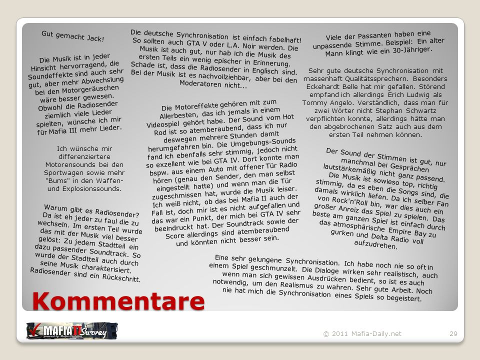 Kommentare © 2011 Mafia-Daily.net29 Gut gemacht Jack.