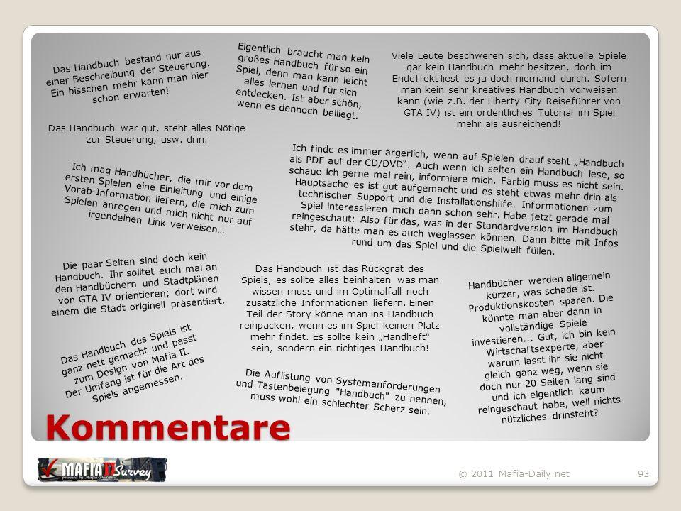 Kommentare © 2011 Mafia-Daily.net93 Das Handbuch bestand nur aus einer Beschreibung der Steuerung.