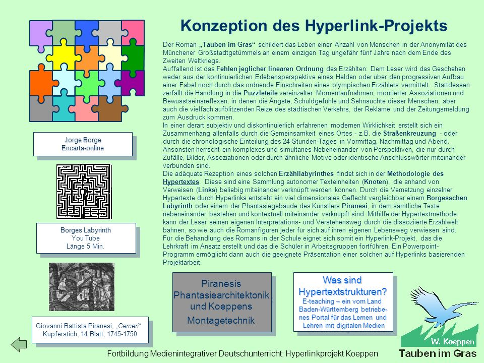 Fortbildung Medienintegrativer Deutschunterricht: Hyperlinkprojekt Koeppen Konzeption des Hyperlink-Projekts Borges Labyrinth Borges Labyrinth You Tube Länge 5 Min.