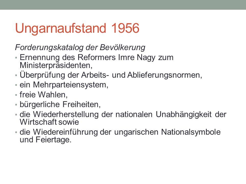 Ungarnaufstand 1956 Forderungskatalog der Bevölkerung Ernennung des Reformers Imre Nagy zum Ministerpräsidenten, Überprüfung der Arbeits- und Ablieferungsnormen, ein Mehrparteiensystem, freie Wahlen, bürgerliche Freiheiten, die Wiederherstellung der nationalen Unabhängigkeit der Wirtschaft sowie die Wiedereinführung der ungarischen Nationalsymbole und Feiertage.