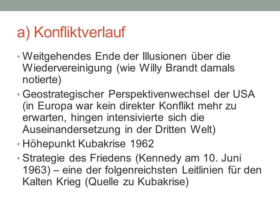 a) Konfliktverlauf Weitgehendes Ende der Illusionen über die Wiedervereinigung (wie Willy Brandt damals notierte) Geostrategischer Perspektivenwechsel der USA (in Europa war kein direkter Konflikt mehr zu erwarten, hingen intensivierte sich die Auseinandersetzung in der Dritten Welt) Höhepunkt Kubakrise 1962 Strategie des Friedens (Kennedy am 10.
