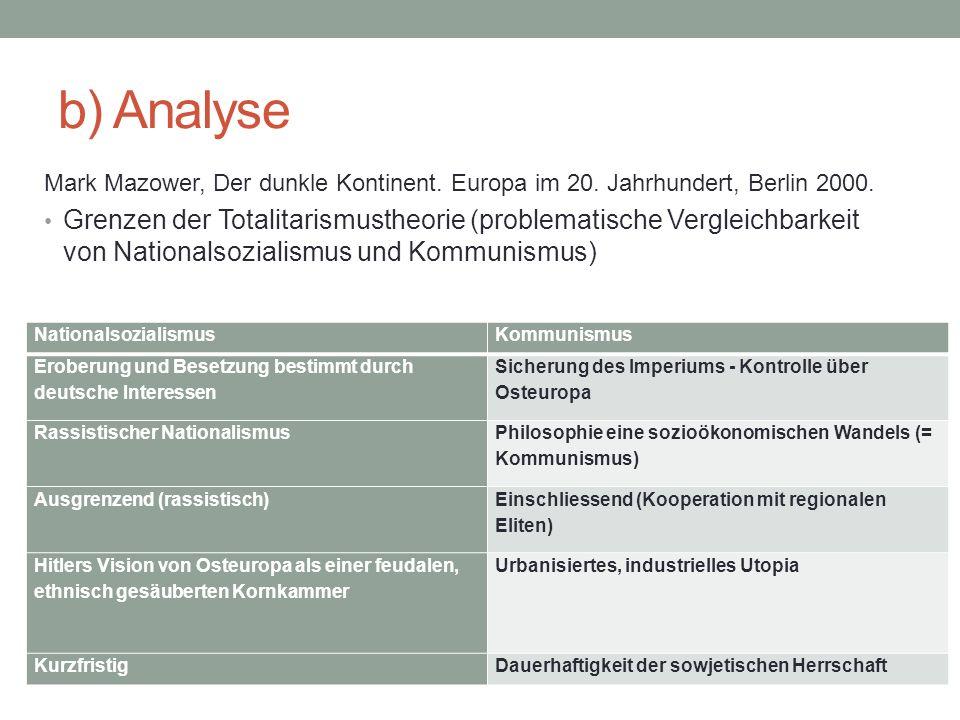 b) Analyse Mark Mazower, Der dunkle Kontinent. Europa im 20.