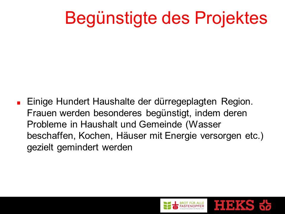 Begünstigte des Projektes Einige Hundert Haushalte der dürregeplagten Region.