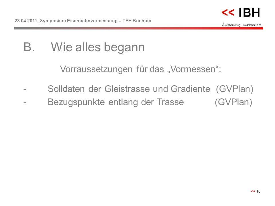 """28.04.2011_Symposium Eisenbahnvermessung – TFH Bochum << 10 Vorraussetzungen für das """"Vormessen"""": -Solldaten der Gleistrasse und Gradiente (GVPlan) -B"""