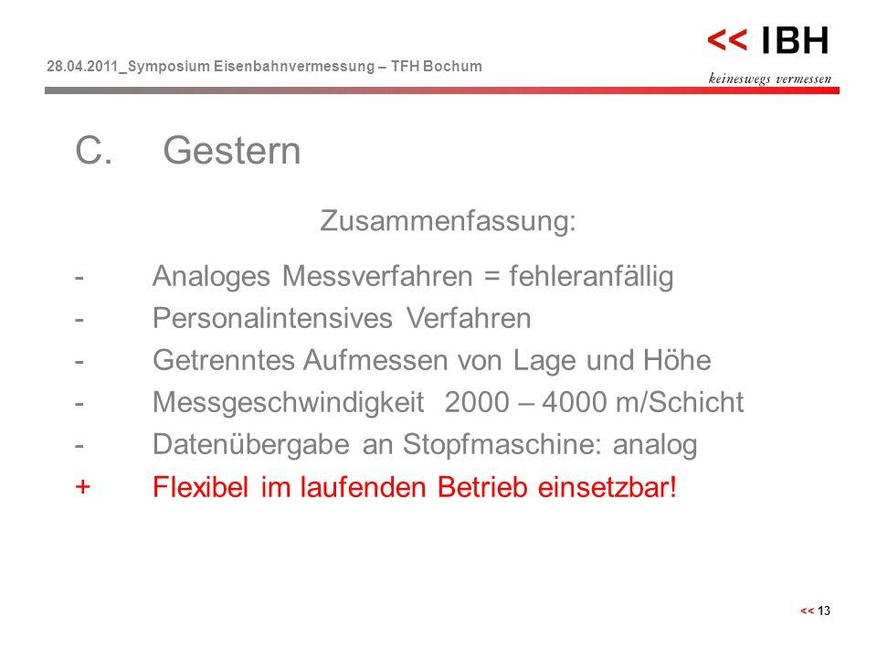28.04.2011_Symposium Eisenbahnvermessung – TFH Bochum << 13 Zusammenfassung: C.Gestern -Analoges Messverfahren = fehleranfällig -Personalintensives Ve