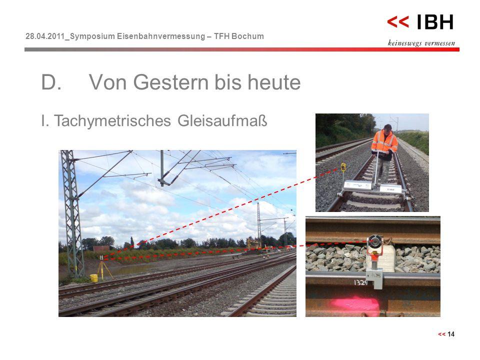 28.04.2011_Symposium Eisenbahnvermessung – TFH Bochum << 14 I. Tachymetrisches Gleisaufmaß D.Von Gestern bis heute