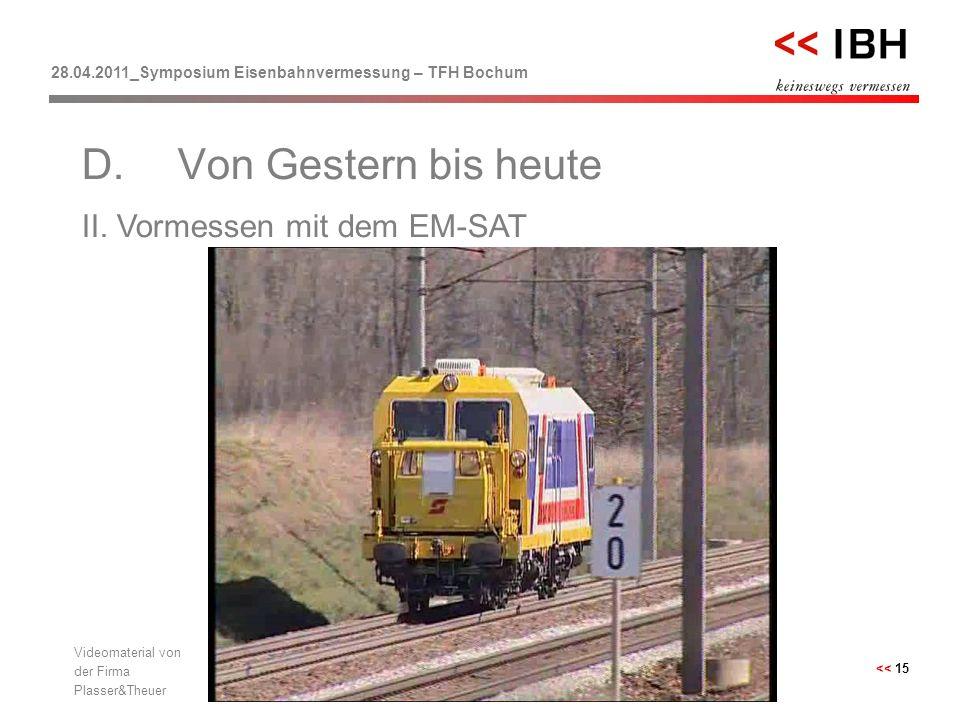 28.04.2011_Symposium Eisenbahnvermessung – TFH Bochum << 15 II. Vormessen mit dem EM-SAT D.Von Gestern bis heute Videomaterial von der Firma Plasser&T