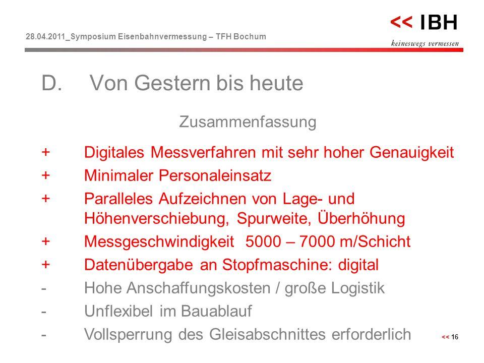 28.04.2011_Symposium Eisenbahnvermessung – TFH Bochum << 16 Zusammenfassung D.Von Gestern bis heute +Digitales Messverfahren mit sehr hoher Genauigkei