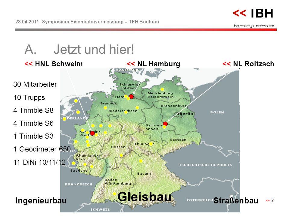 28.04.2011_Symposium Eisenbahnvermessung – TFH Bochum << 2 << HNL Schwelm << NL Roitzsch << NL Hamburg 30 Mitarbeiter 10 Trupps 4 Trimble S8 4 Trimble